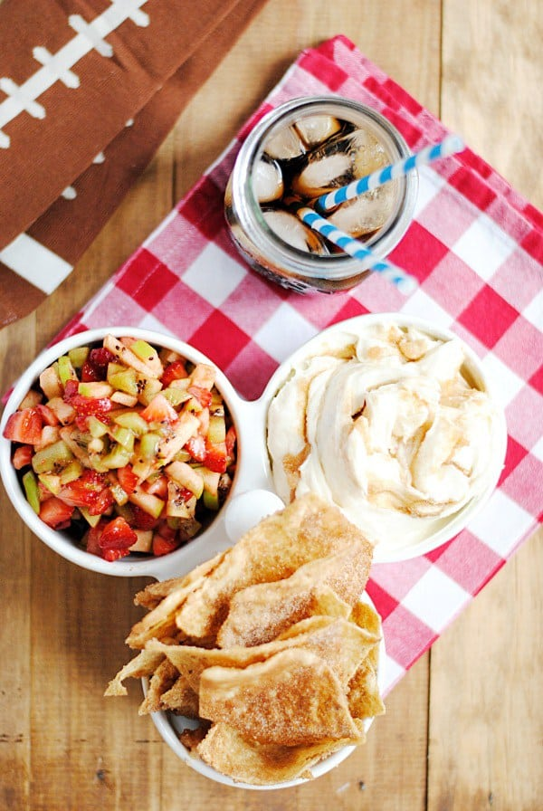 These Cinnamon Sugar Nachos with Fruit Salsa are AH-MAZING. Seriously, hands down one of the best things I have ever eaten in my life. Easy to make and super addicting. People will go nuts over this!