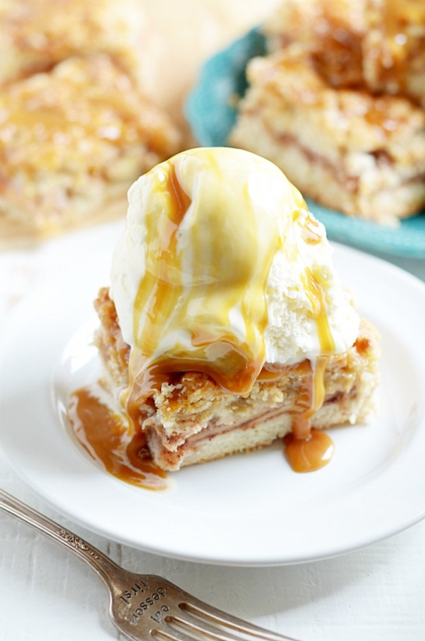 All the goodness of Salted Caramel Apple Pie in much easier bar form!