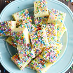 No thermometer for this easy fudge! All you need are a few simple ingredients and a love of sprinkles.