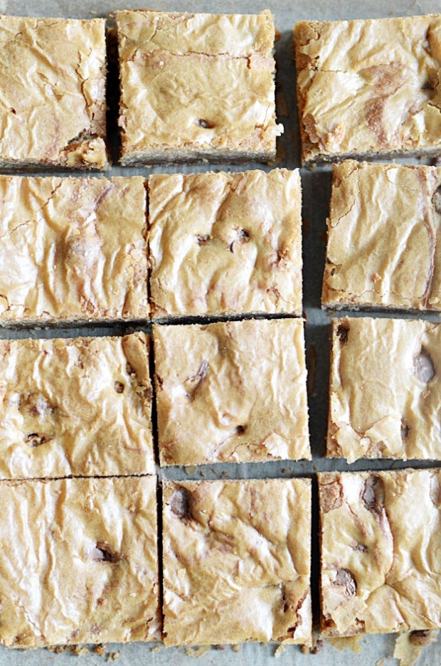 These milk chocolate chip blondies are deliciously chewy with a rich toffee flavor.