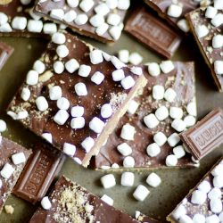 Crunchy, sweet, and easy brown sugar toffee made with graham crackers smothered in milk chocolate and topped with mini marshmallows. Better than campfire s'mores!