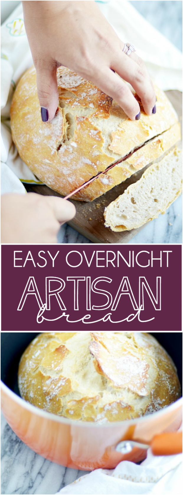 Ridiculously easy bread that is super crusty on the outside and steamy soft on the inside. You won't believe how fool-proof this recipe is!
