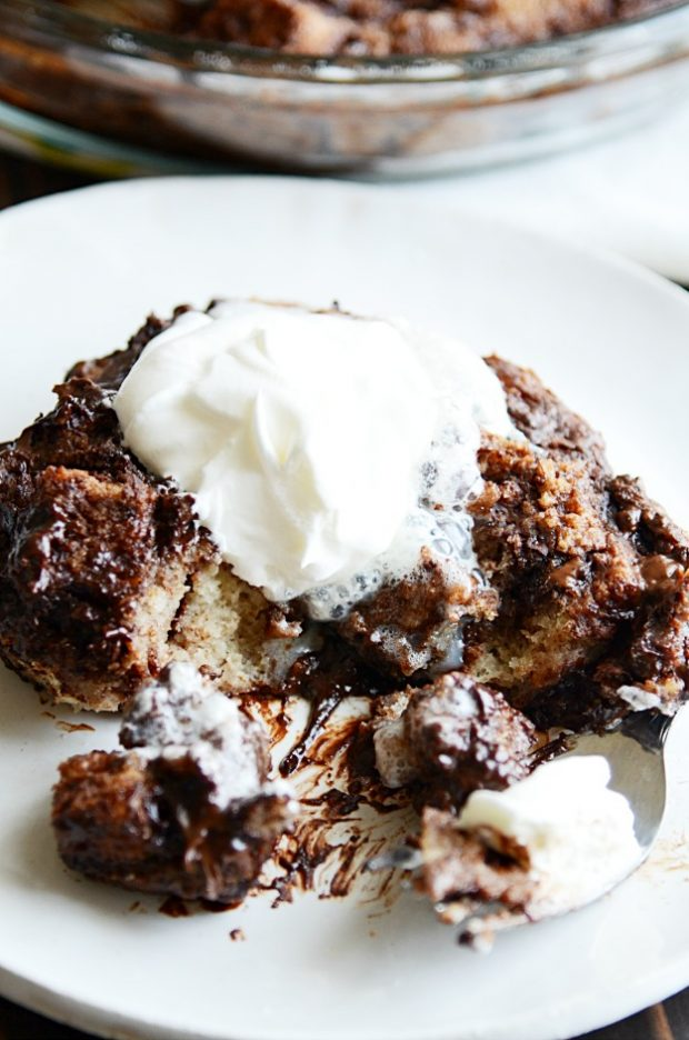 Warm, comforting, stick-to-your-ribs chocolate bread pudding from my family cookbook. Easy to make, easy to eat!