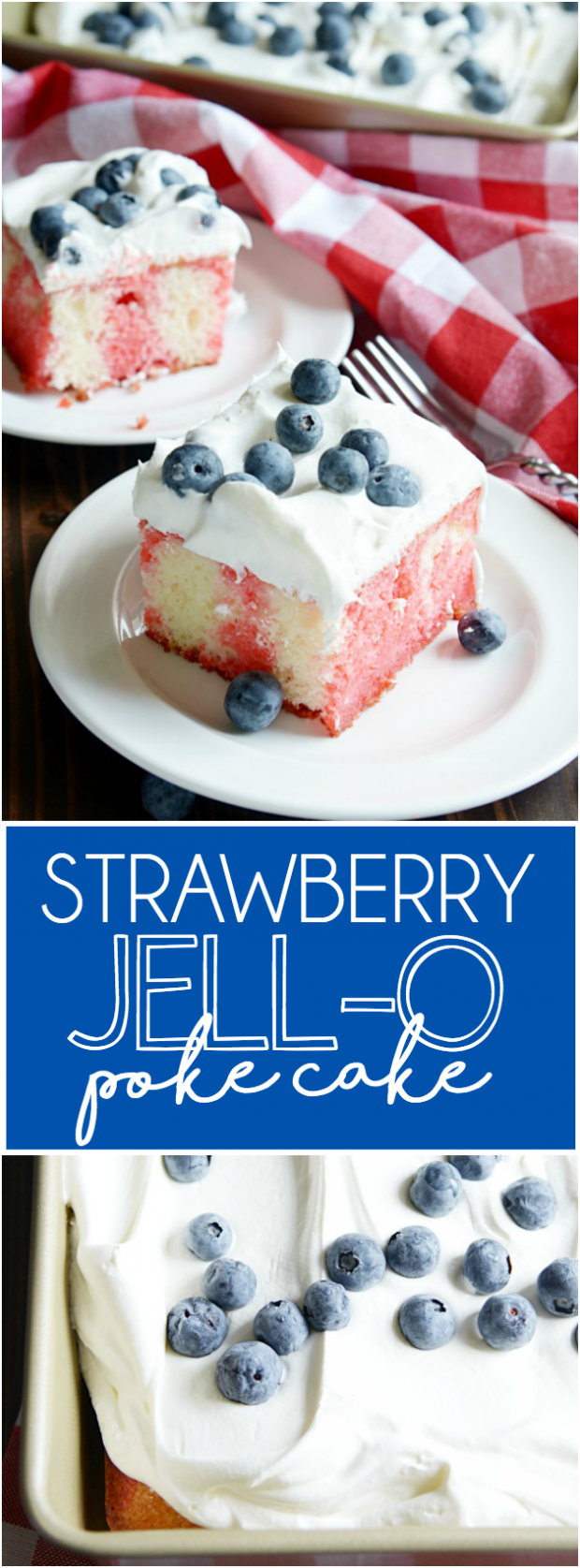 This is the ultimate summer cake! White sheet cake soaked through with strawberry Jell-O, and smothered in Cool Whip. No bake perfection :)