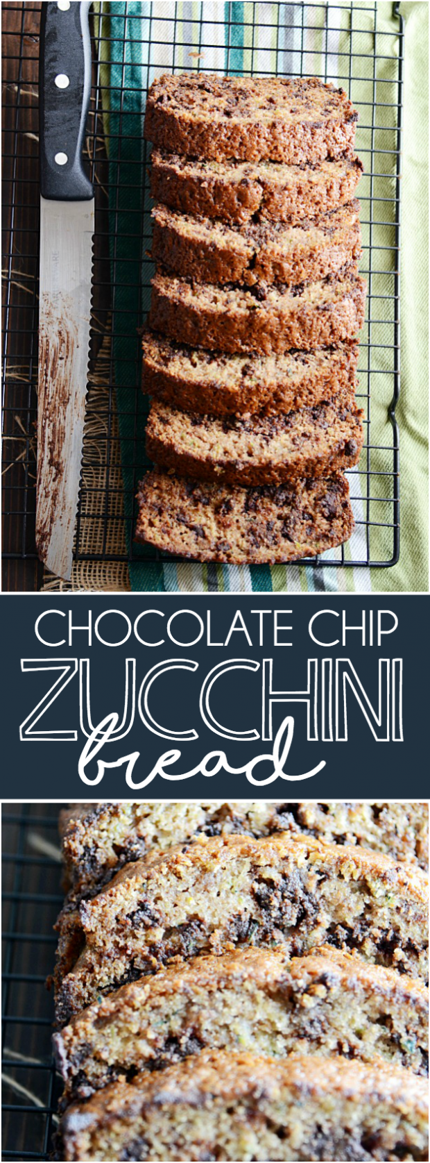 Nothing beats a thick slice of super moist chocolate chip zucchini bread smothered in butter.
