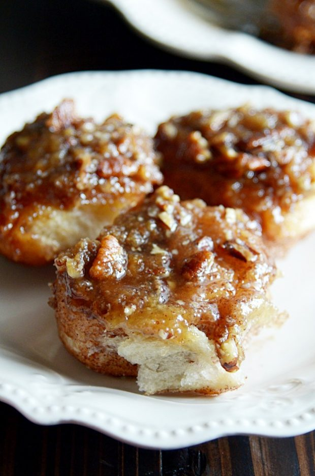A recipe for quick and easy sticky buns using maple syrup, brown sugar, pecans, and store bought crescent roll dough.