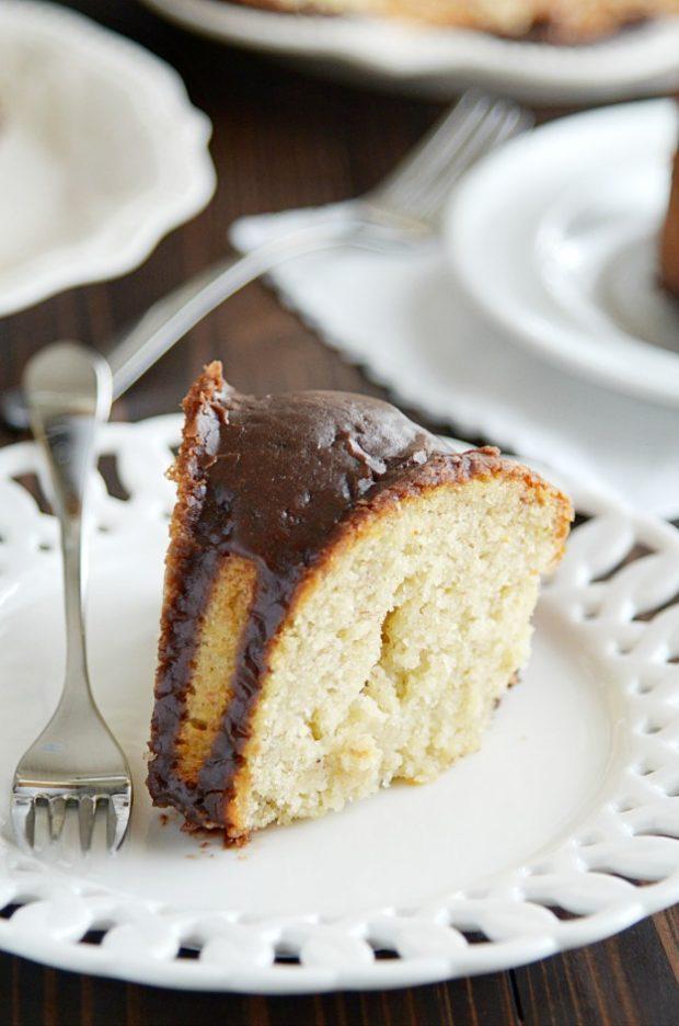 Incredibly moist banana cake with a sneakily easy chocolate glaze.