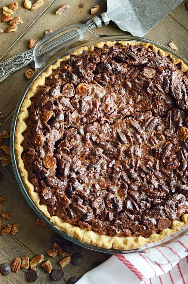 This recipe for chocolate pecan pie is a family recipe that always makes an appearance at our holiday dessert table!