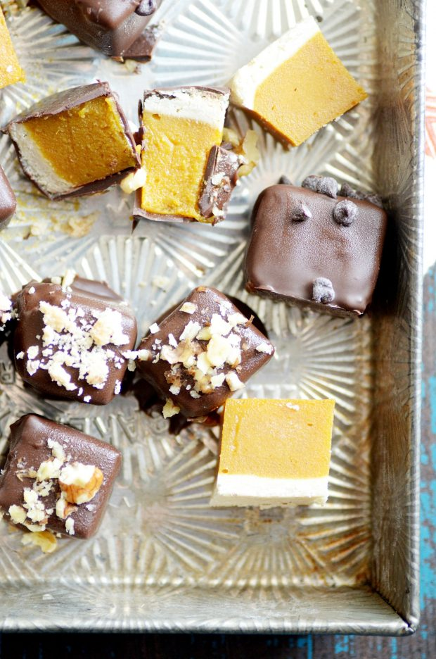 Chocolate covered pumpkin pie. Your new favorite fall treat.