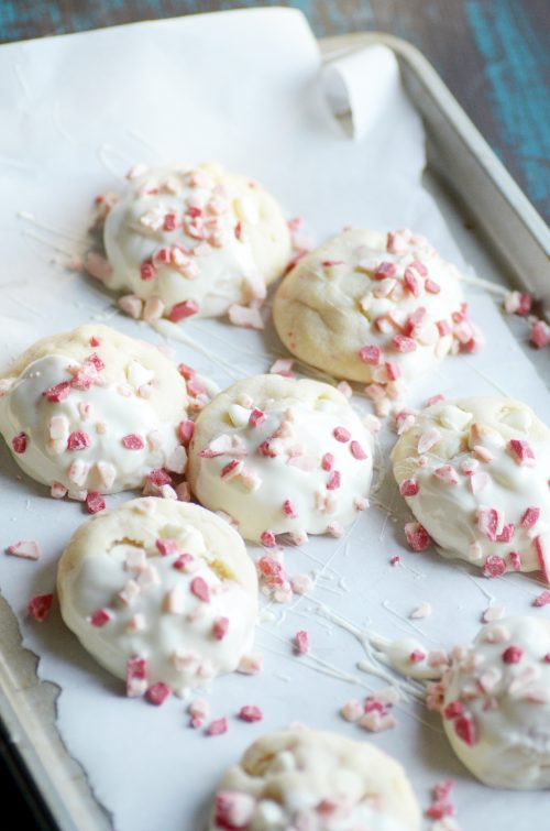 Soft sugar cookies dipped in white chocolate and peppermint bits.