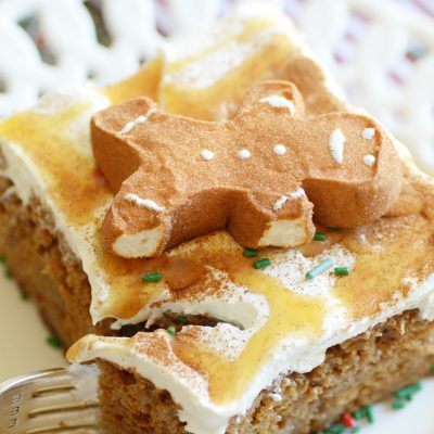 A flavorfully spiced gingerbread version of poke cake!