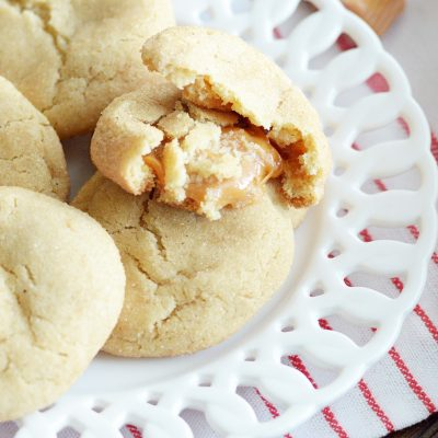 Soft and chewy snickerdoodles with a buttery caramel surprise on the inside.