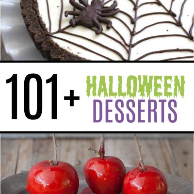 More than 101 Spooky Treats perfect for Halloween including a Frankenstein Cake, Spider Web Tart, and Candy Apples.