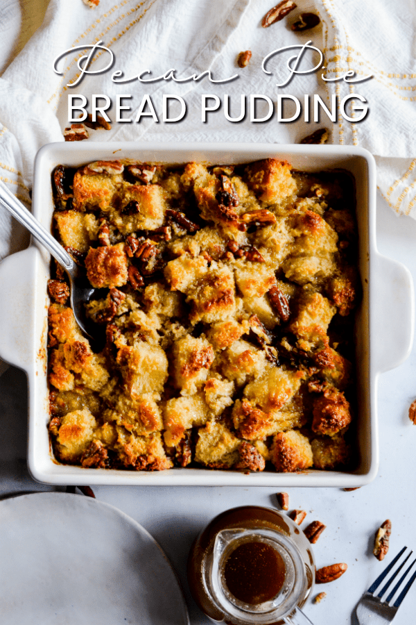 This Pecan Pie Bread Pudding has been one of the most popular recipes on Something Swanky since it was published in 2012. Pecan Pie filling poured over thick pieces of bread and baked to perfection!