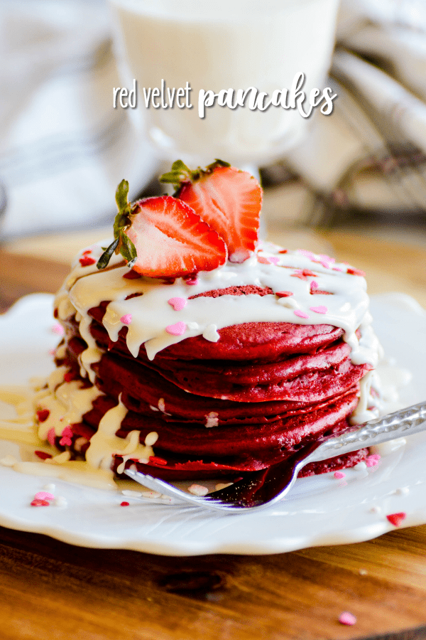 Thick and fluffy Red Velvet Pancakes are the perfect, simple breakfast for Valentine's Day!