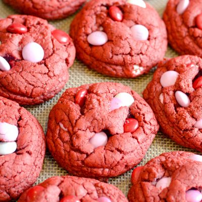 An easy recipe for soft red velvet cookies made with a cake mix!