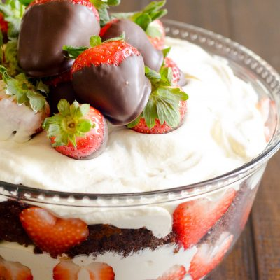 Delicious and easy Chocolate Covered Strawberry Trifle perfect for Valentine's Day
