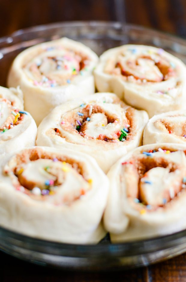 Cute-sy up your St. Patrick's Day breakfast with green frosted cinnamon rolls and rainbow sprinkles!