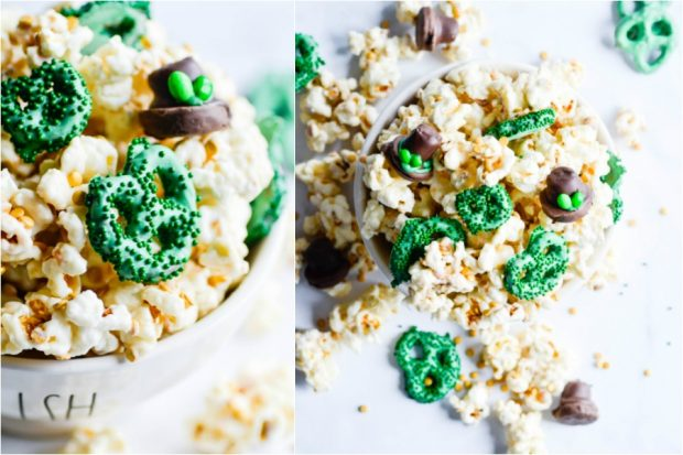"Leprechaun Chow is a fun and festive St. Patrick's day treat! Made with white chocolate coated kettle corn and rice cereal with candy coated pretzel ""clovers""."