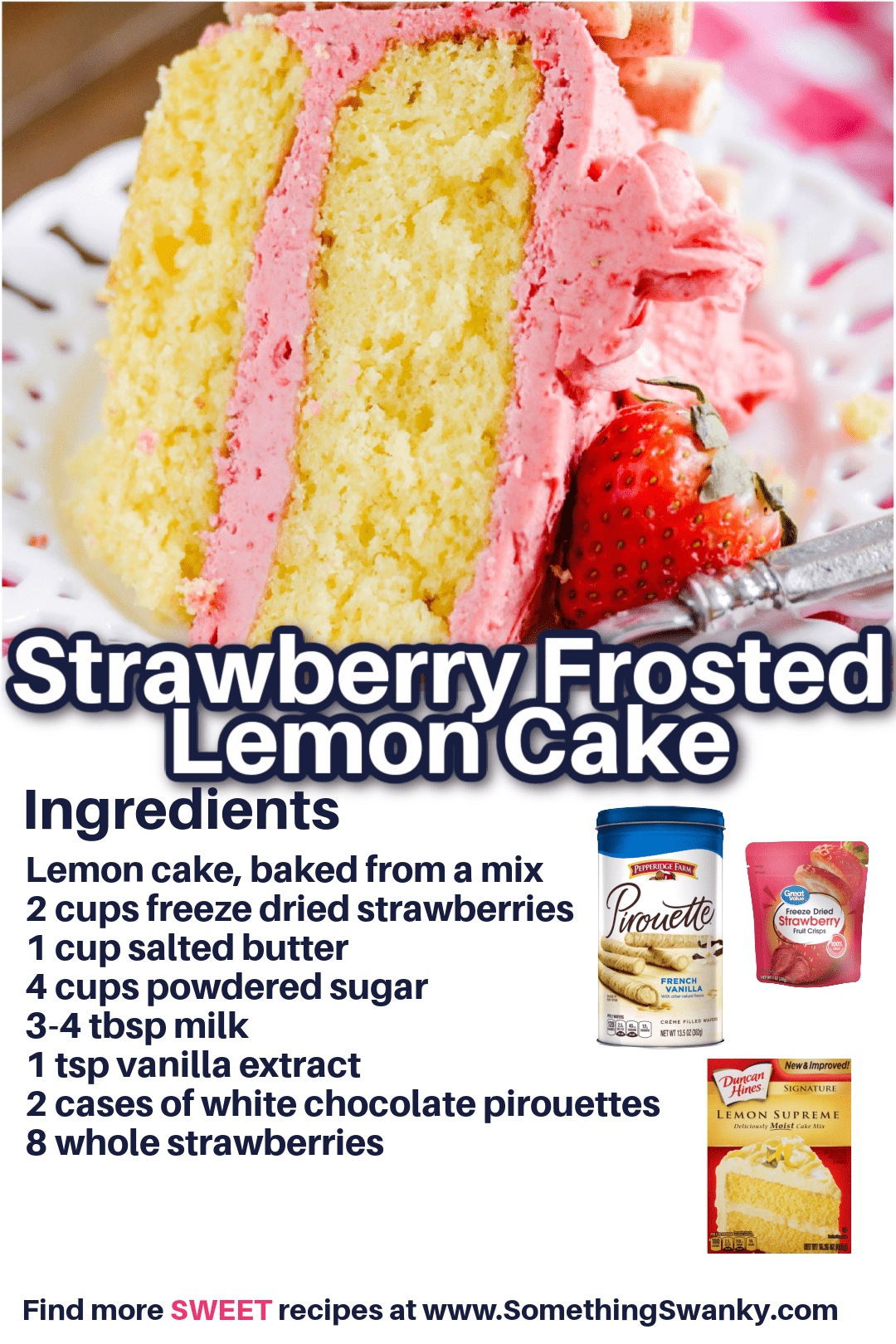 Strawberry Frosted Lemon Layer Cake Recipe