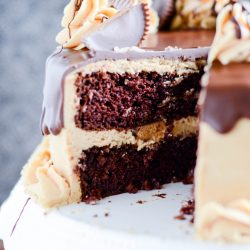 Fudgy chocolate cake layered with rich peanut butter frosting and peanut butter cups make this an excellent cake to share with a crowd.