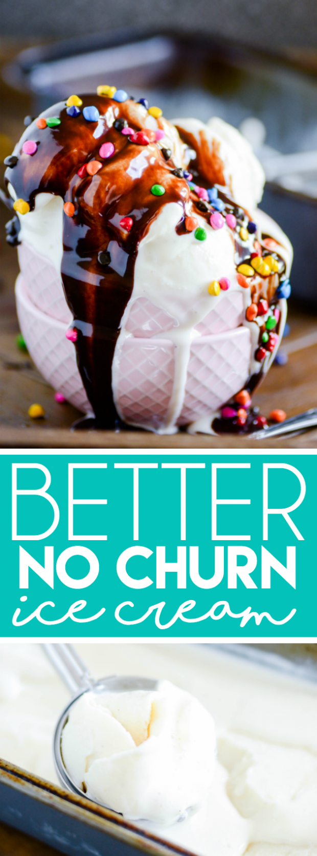 This is THE PERFECT no churn ice cream recipe. It's just two ingredients (like the other famous no churn recipe), but this one has a way better texture, and it's not overly sweet! It seriously tastes and feels JUST LIKE real ice cream.
