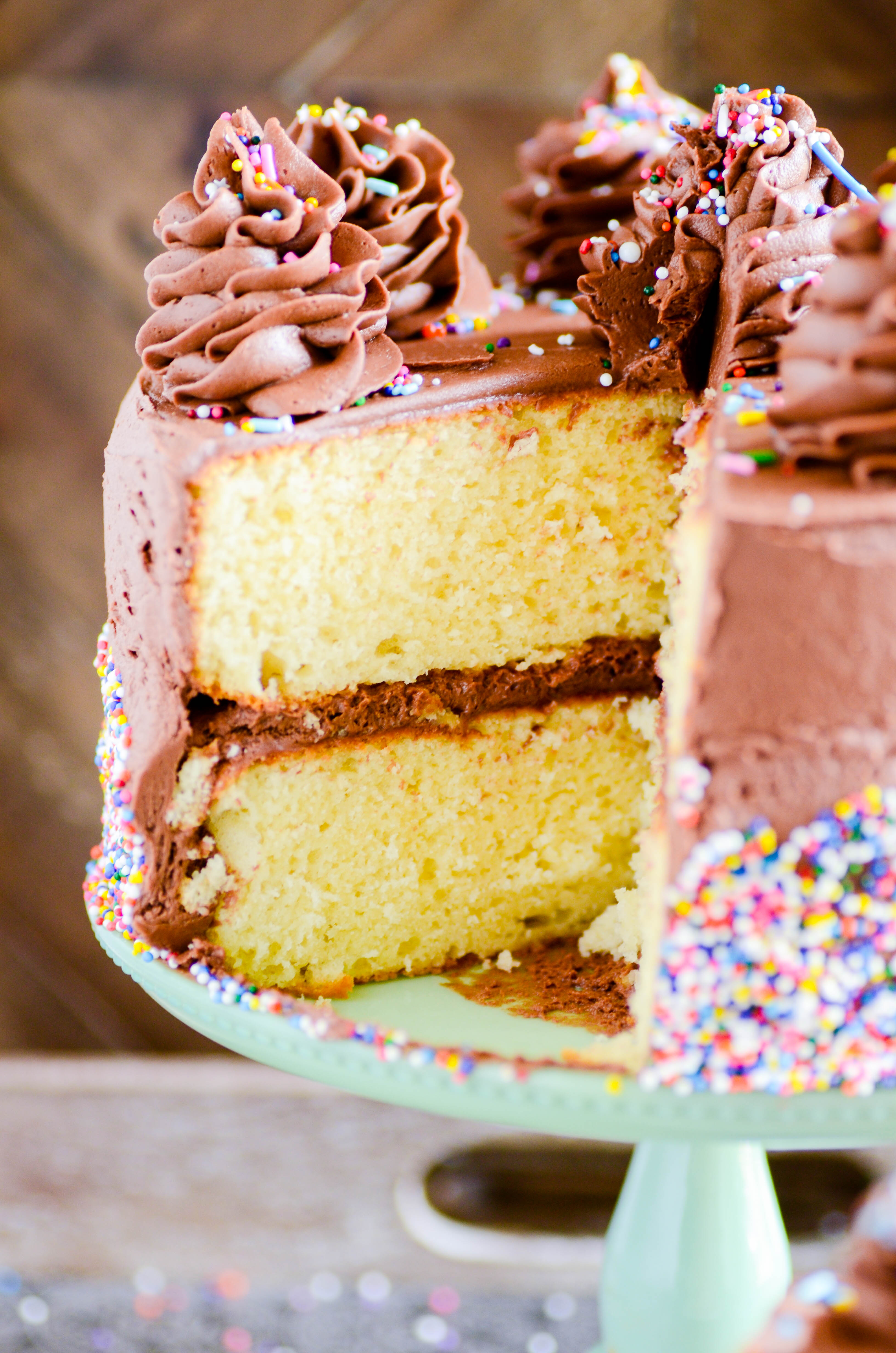 Another Yellow Birthday Cake with Chocolate Frosting - Something ...