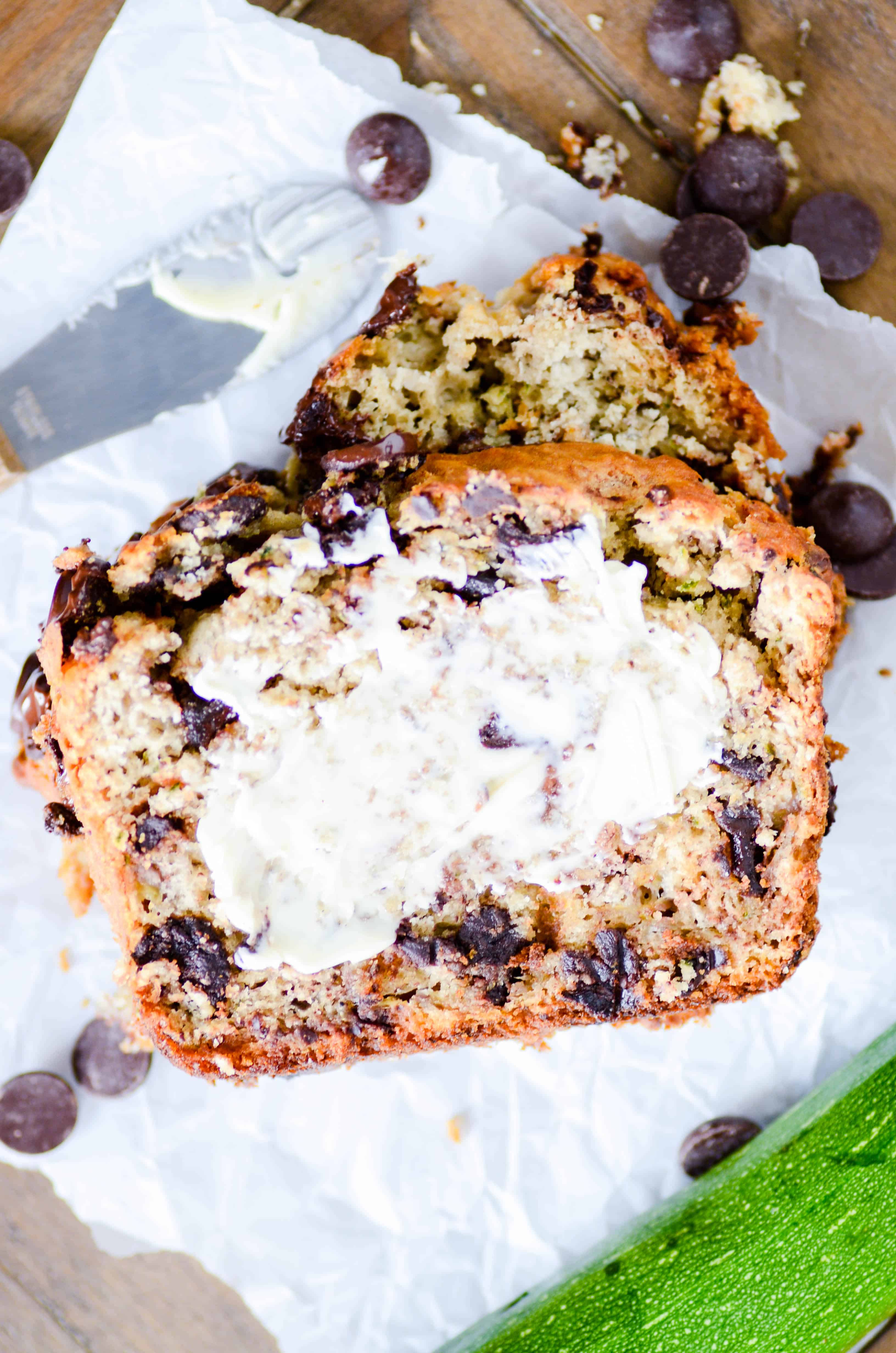 This chocolate chip zucchini bread is devilishly good. You'd never guess that it was full of fruits and veggies!