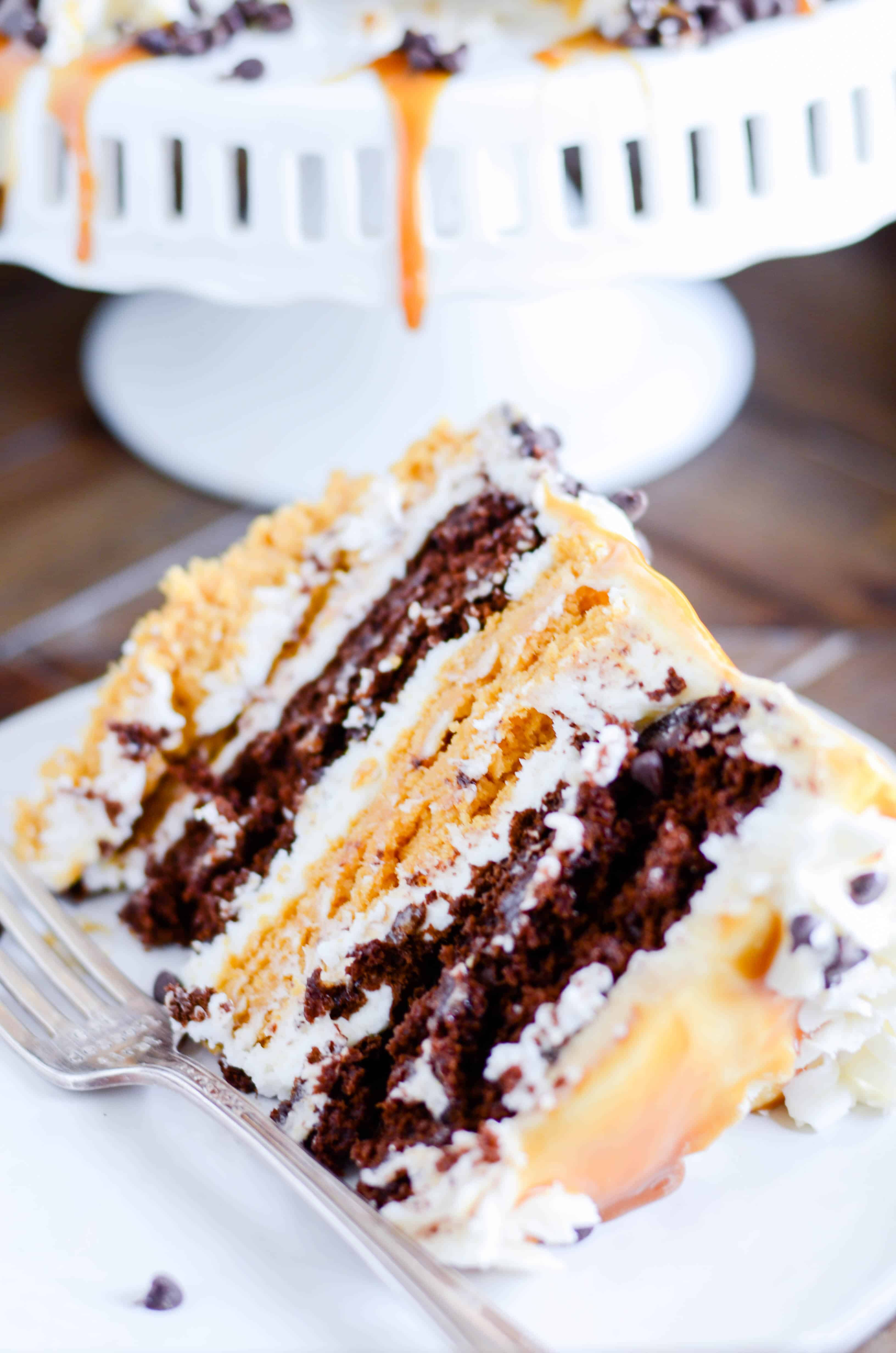 You have to try this cake made with layers of pumpkin cake and pumpkin chocolate cake and cream cheese frosting. And don't forget the butterscotch caramel!!