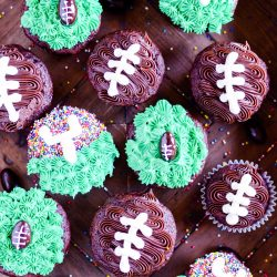 Three different football cupcakes that are so easy to make and perfect for a party or tailgating!