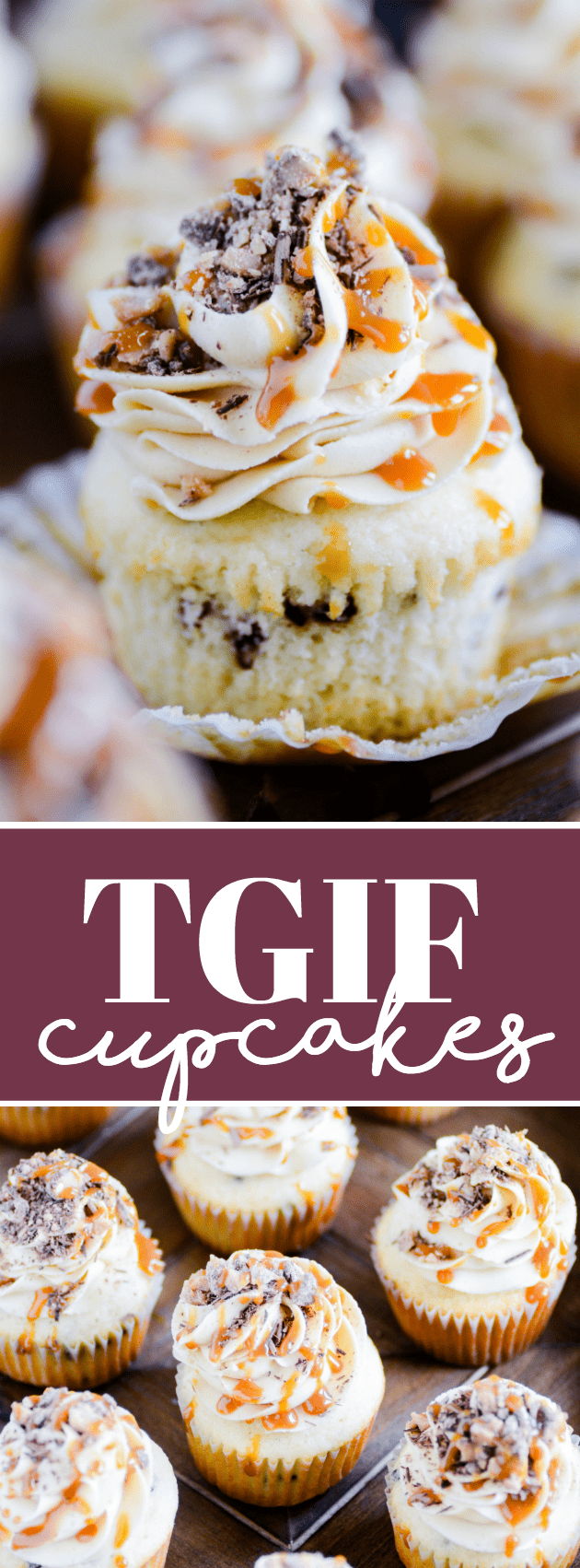 Vanilla cupcakes studded with chocolate chips and topped with peanut butter frosting, chocolate shavings, toffee, and butterscotch caramel. A cupcake worthy of the name TGIF!