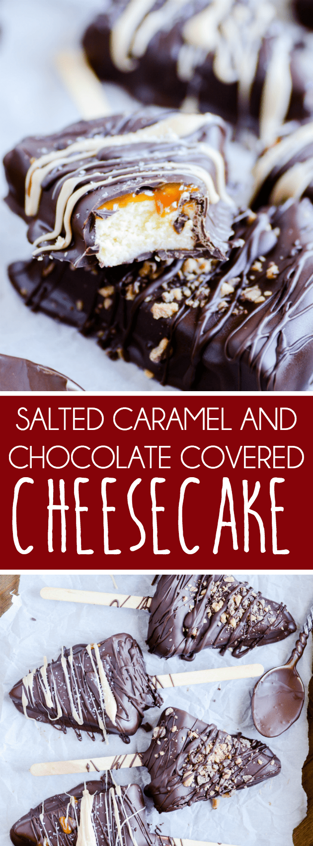 My new favorite 3-step cheesecake covered in chocolate, stuffed with salted caramel, and sprinkled with toffee.