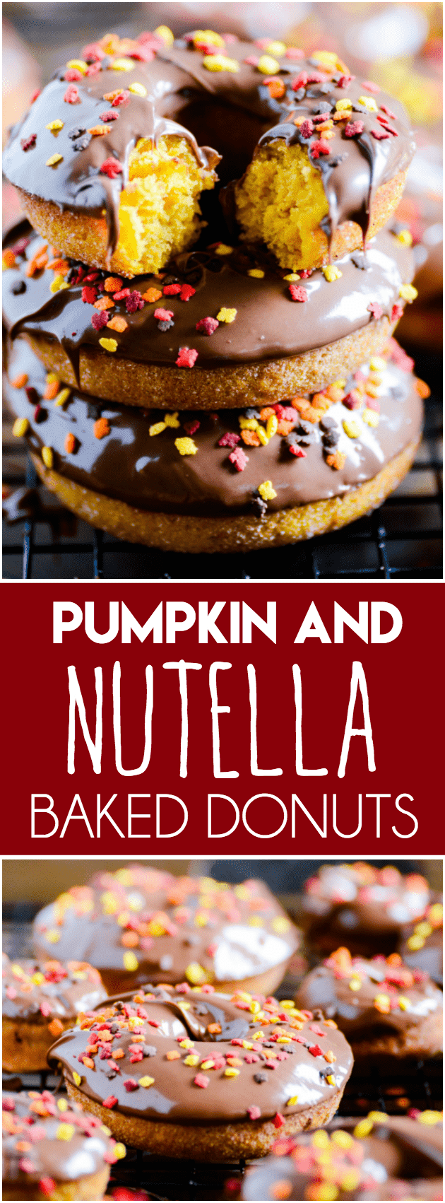 Perfectly baked pumpkin donuts coated with cinnamon sugar and topped with Nutella.