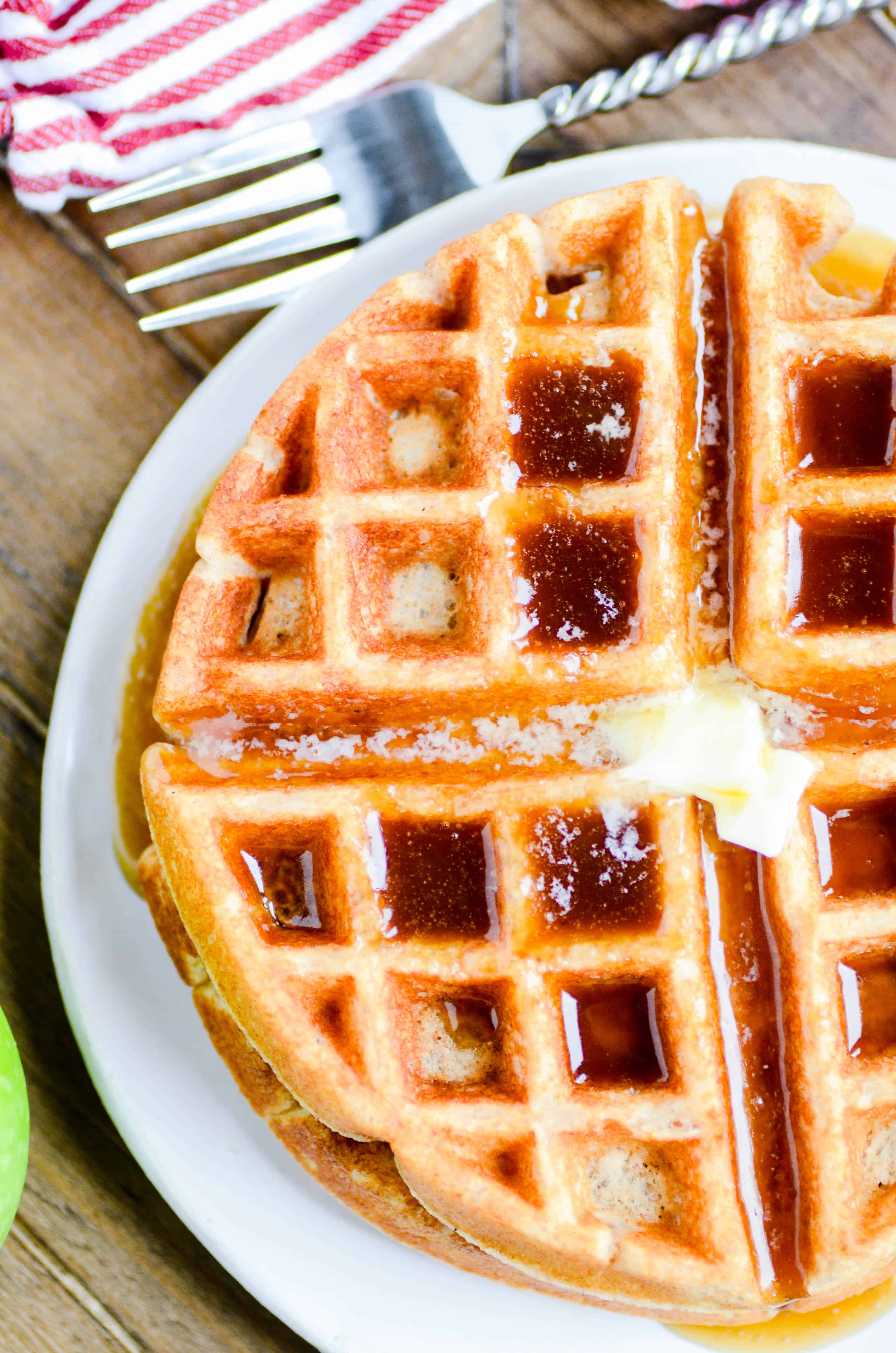 Here is a recipe for the perfect Fall weekend breakfast or brunch: Apple Cider Waffles with an amazing homemade Caramel Apple Cider Syrup.