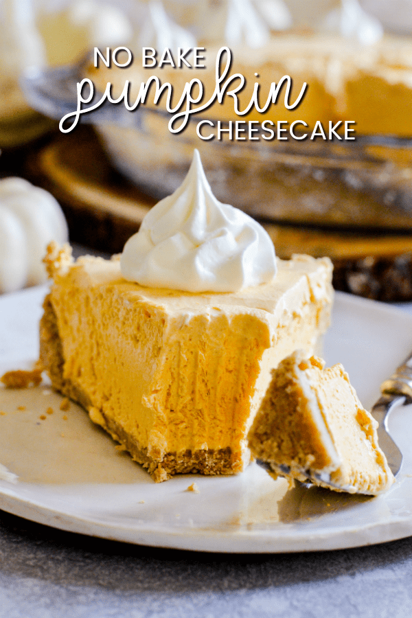 A simple no-bake pumpkin cheesecake made with just THREE easy ingredients nestled inside a buttery, graham cracker crust