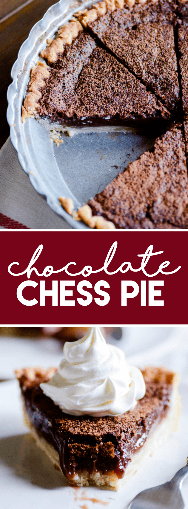 Decadent and delicious classic chocolate chess pie. This pie is a Southern staple, and it is absolutely incredible!