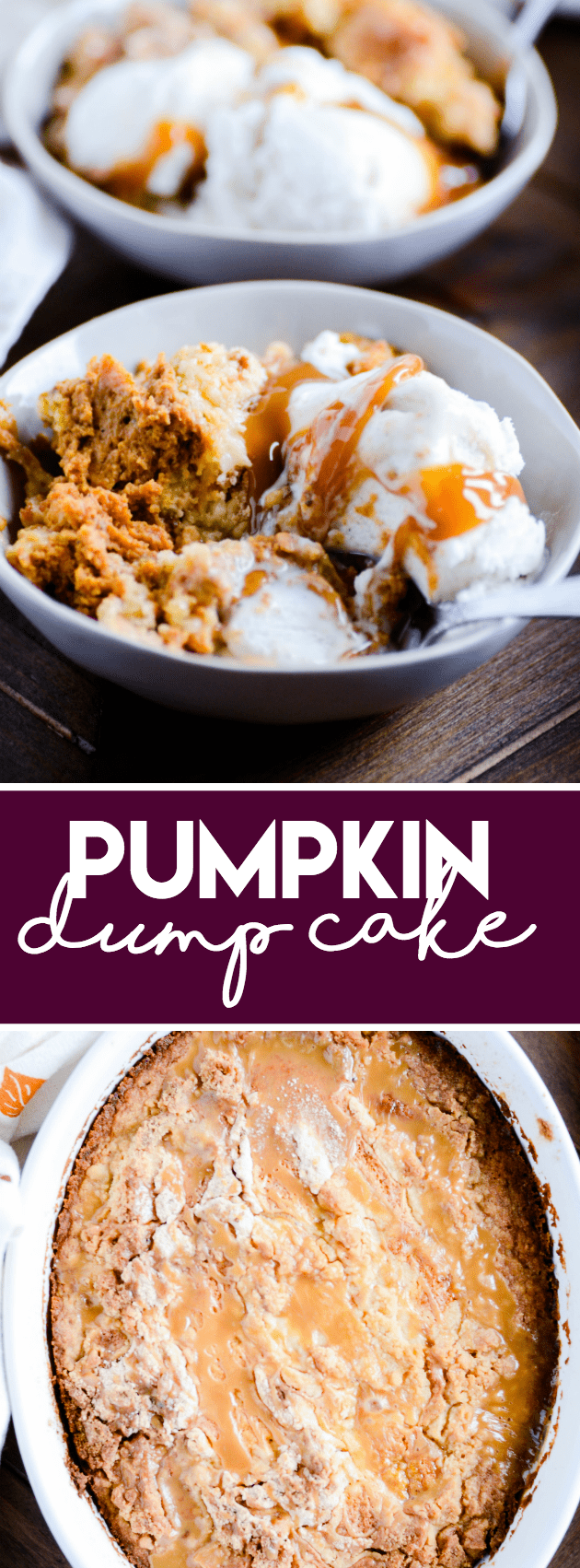Pumpkin pie on the bottom with a sweet crunchy layer on top. True to it's name, the recipe is easy as dumping the ingredients in a bowl and stirring!