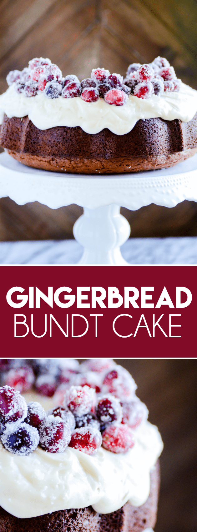 My favorite recipe for a beautifully classic and flavorful gingerbread cake with cream cheese frosting. Add sugared cranberries to dress it up for the holidays!