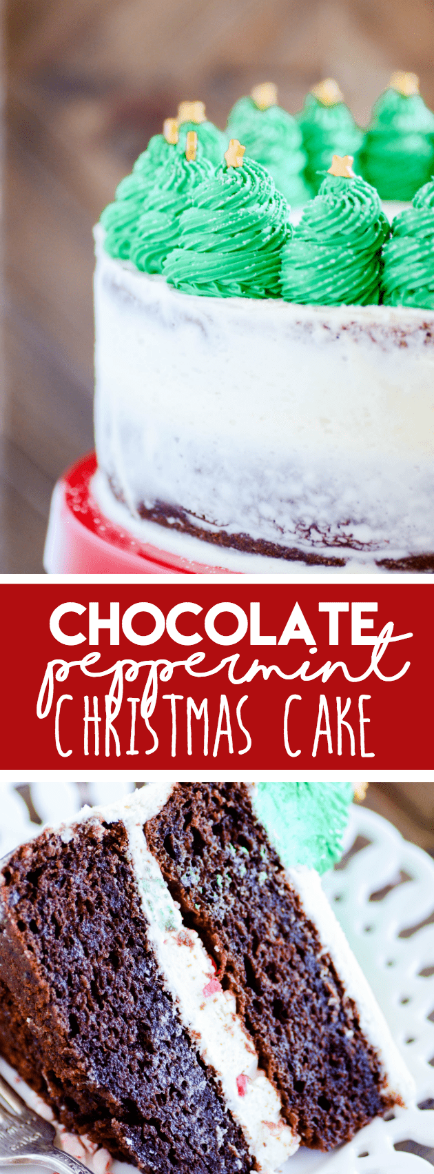 My favorite chocolate cake filled with a vanilla peppermint buttercream. Cute and easy Christmas trees on top make this a perfect cake for your holiday festivities!
