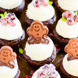 Chocolate gingerbread cupcakes with an easy-to-pipe cream cheese frosting. These spiced cupcakes are super fudgy and and perfect for the holidays. Plus they start with a mix!