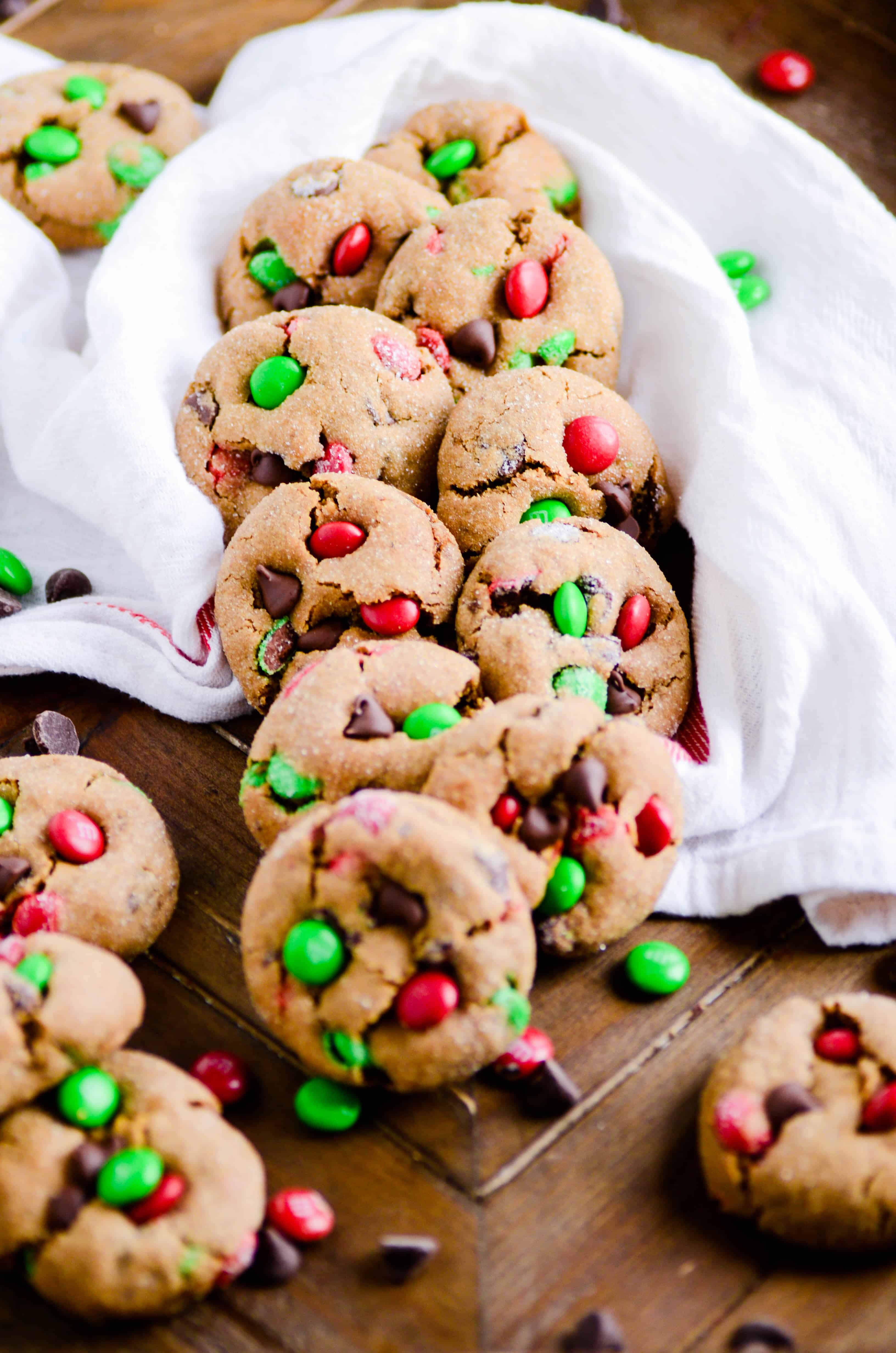 Soft and chewy gingerbread cookies with lots of M&Ms!