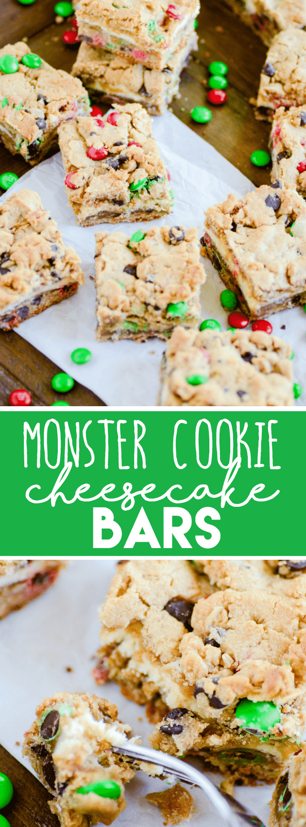 A layer of delicious, creamy cheesecake in between two layers of monster cookies.