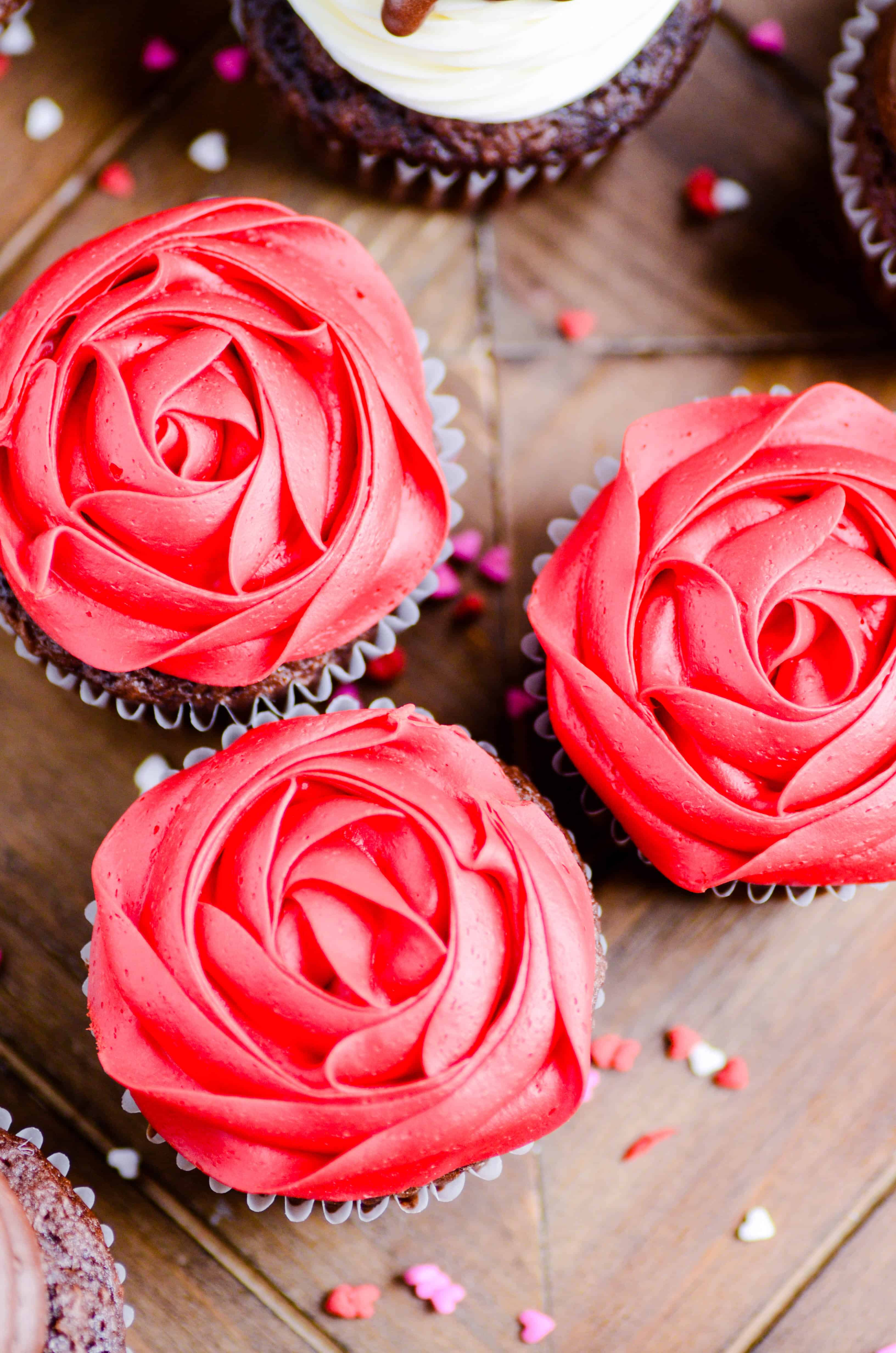Three different Valentine's Day Cupcakes that are easy to make and so cute!