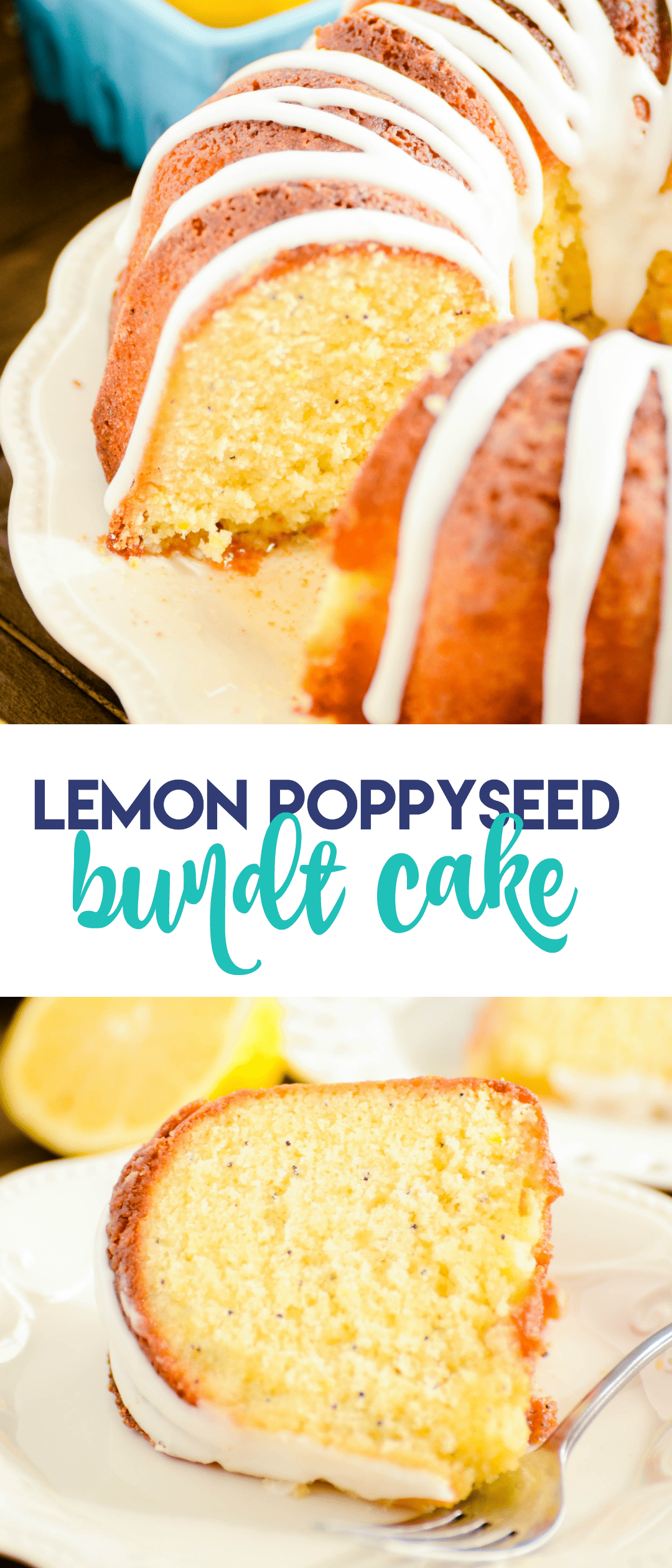 A recipe for homemade lemon poppyseed pound cake infused with a lemony simple syrup and topped with a lemon glaze.