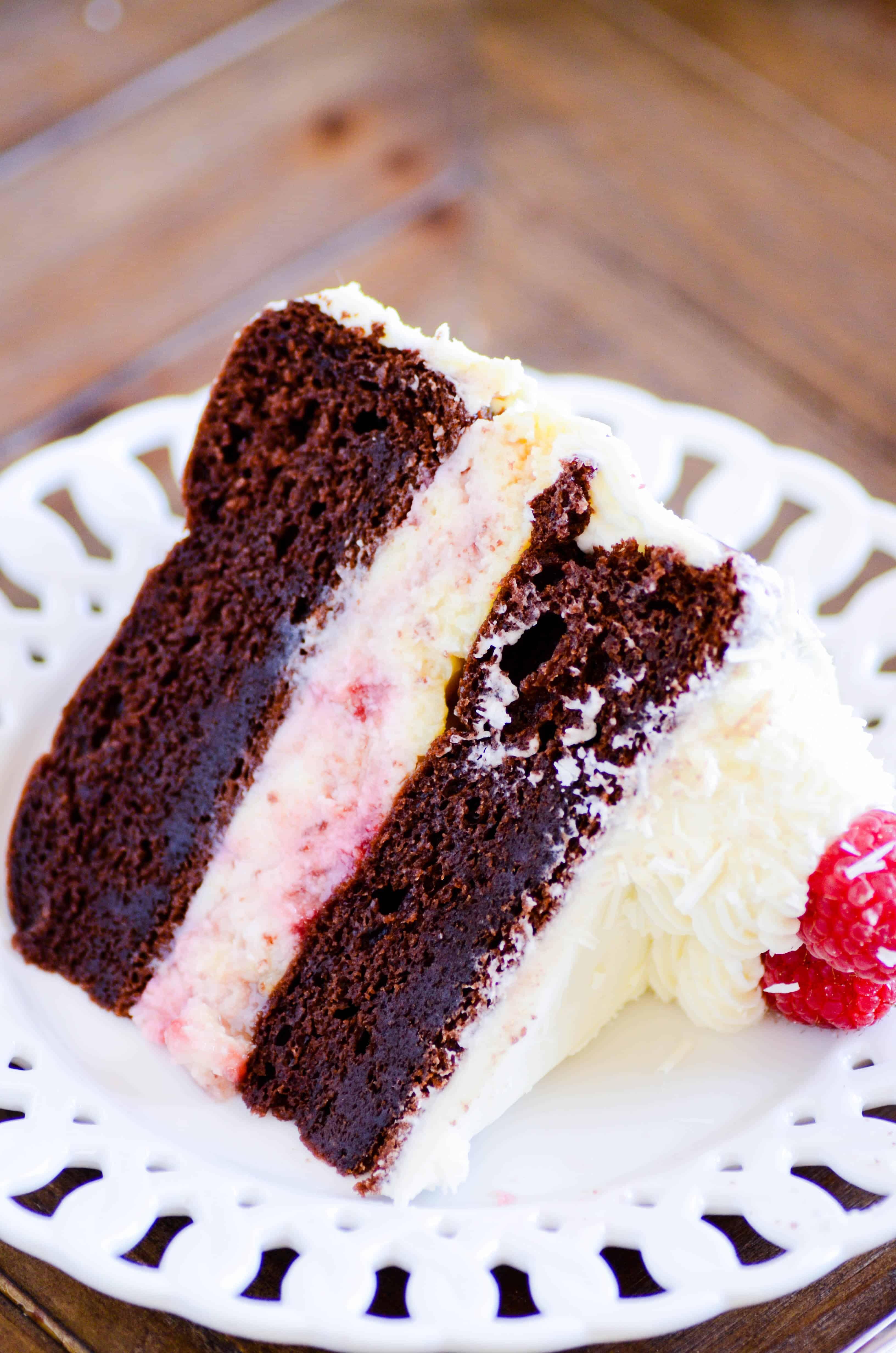 White Chocolate Raspberry Cheesecake Cake