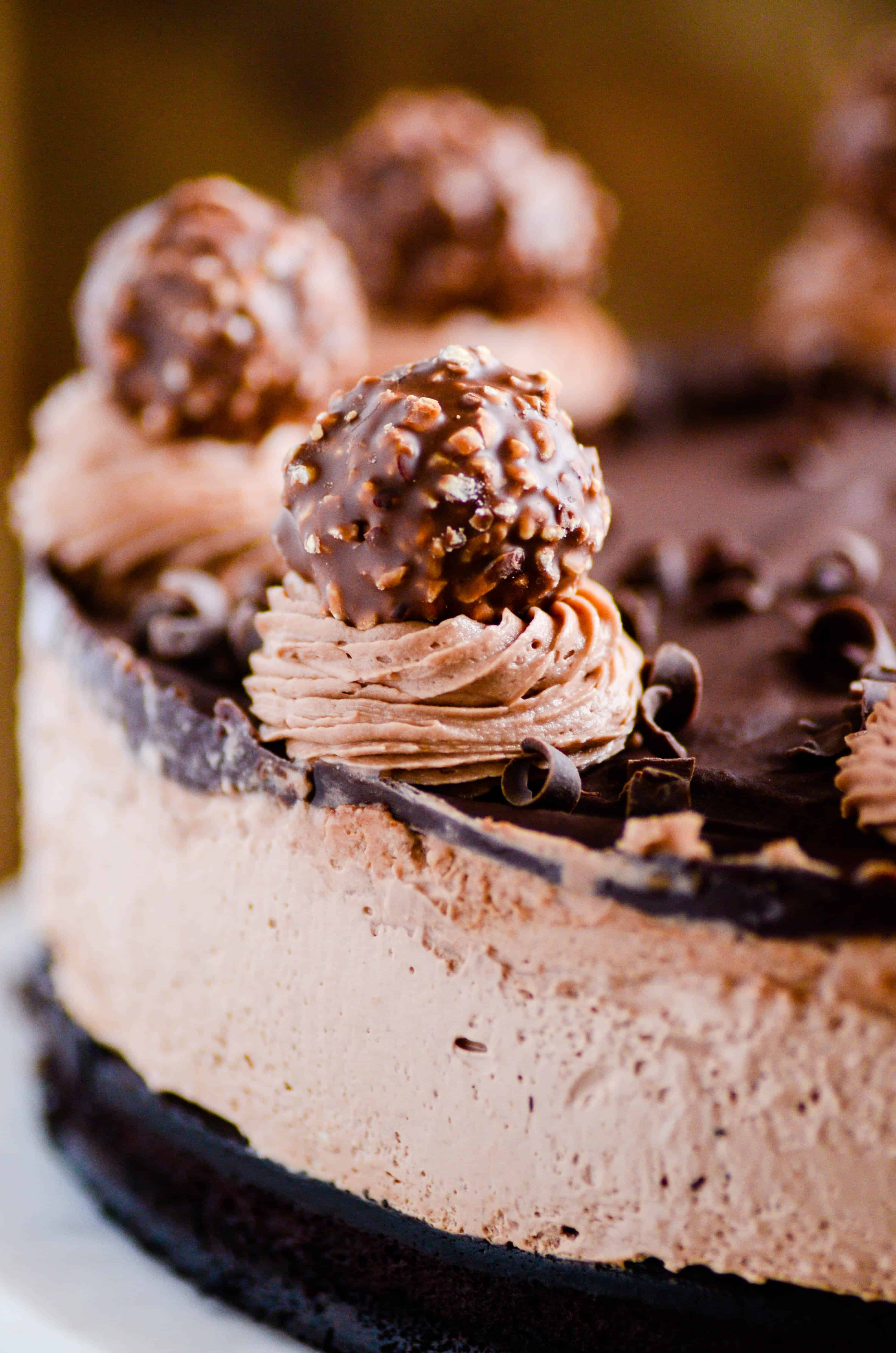 """This Nutella Mousse Cake is unreal! Layers of flourless chocolate cake, Nutella mousse, Nutella buttercream, chocolate ganache, and a Ferrero Rocher """"cherry"""" on top."""