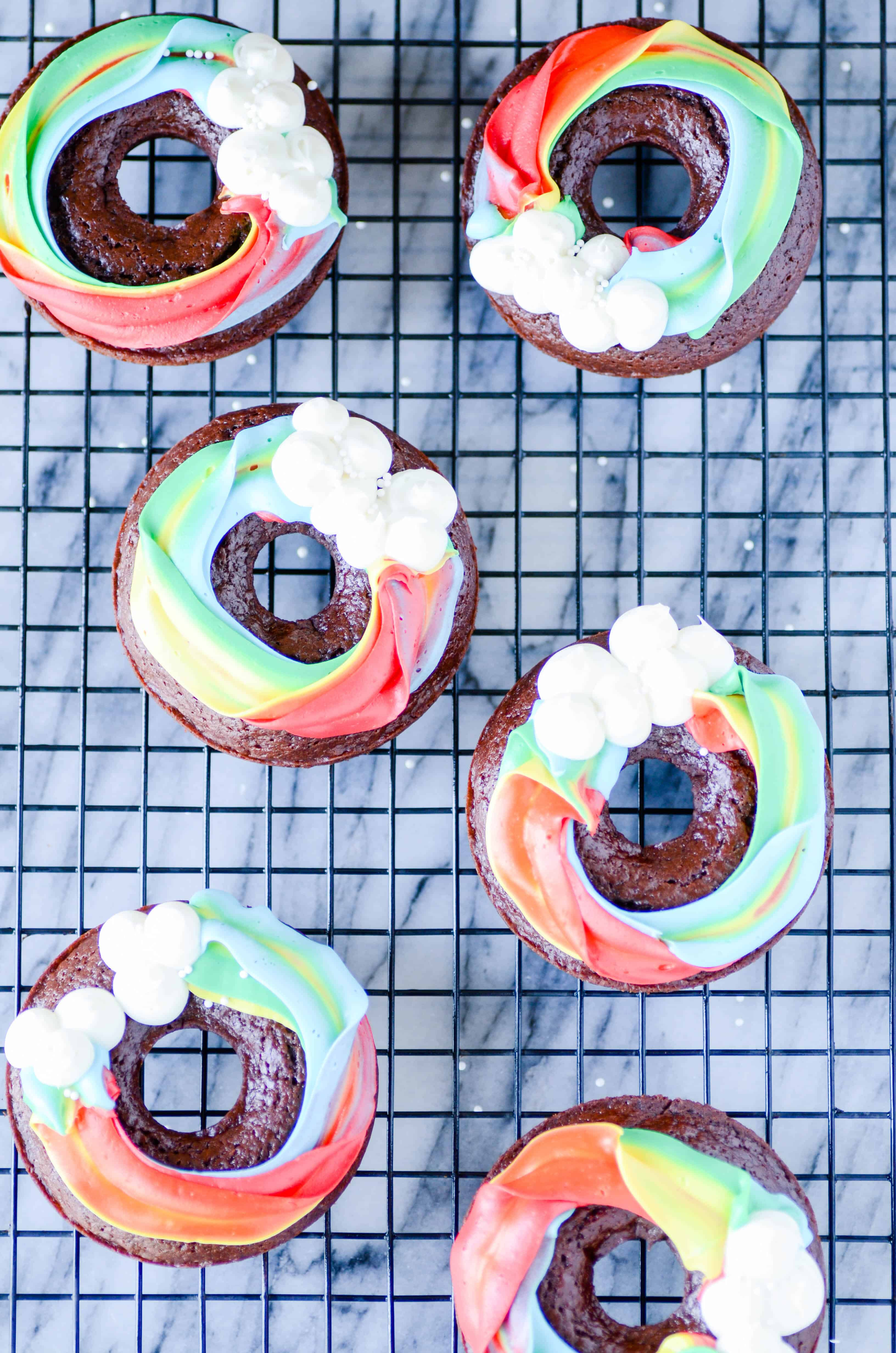 My favorite baked chocolate donut with a frosting rainbow on top.