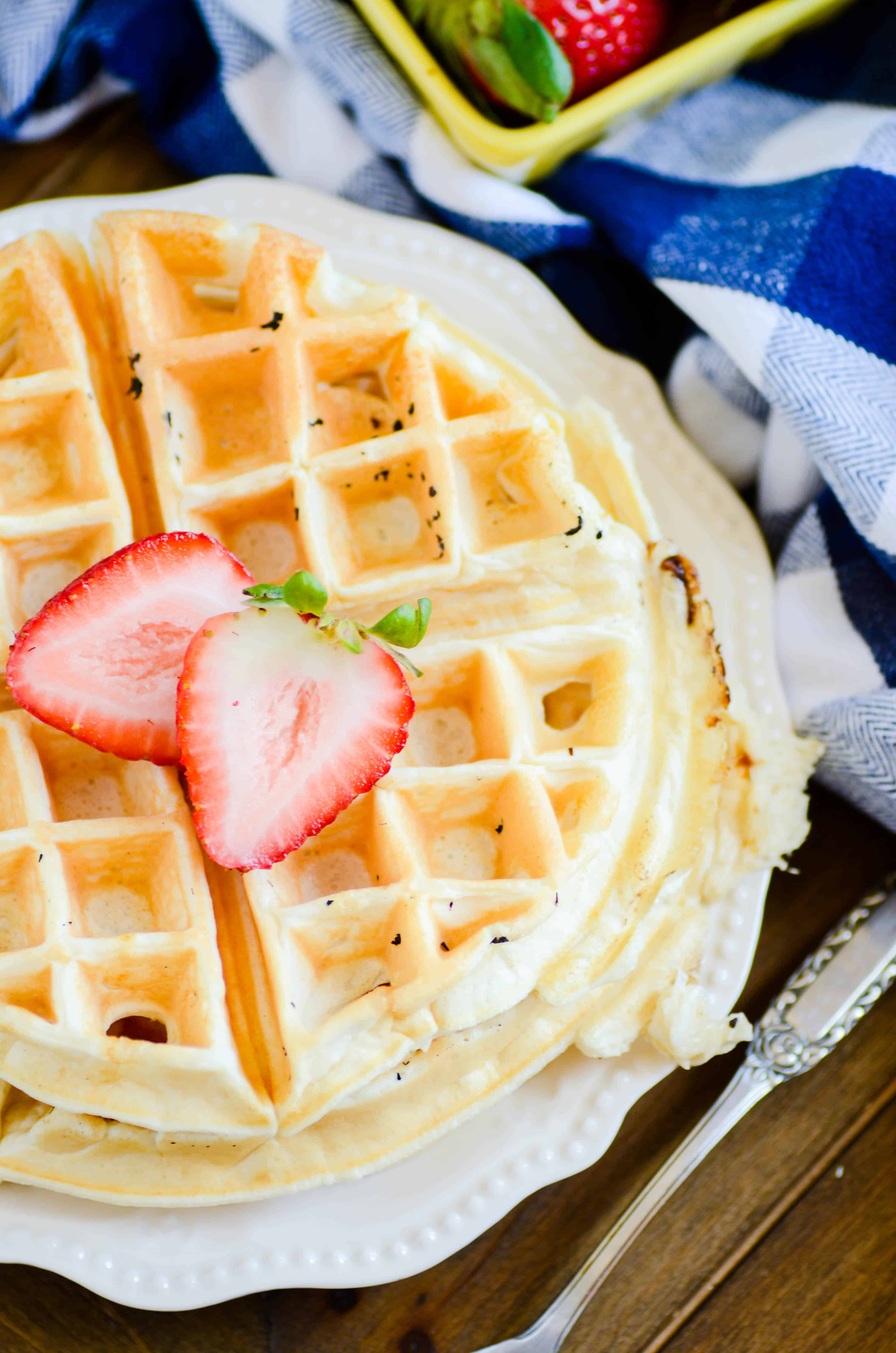 You'll be shocked at how good these protein waffles taste. They're just as a soft and fluffy as Belgian waffles, but they pack in 15g of protein and lots of vitamins and minerals!