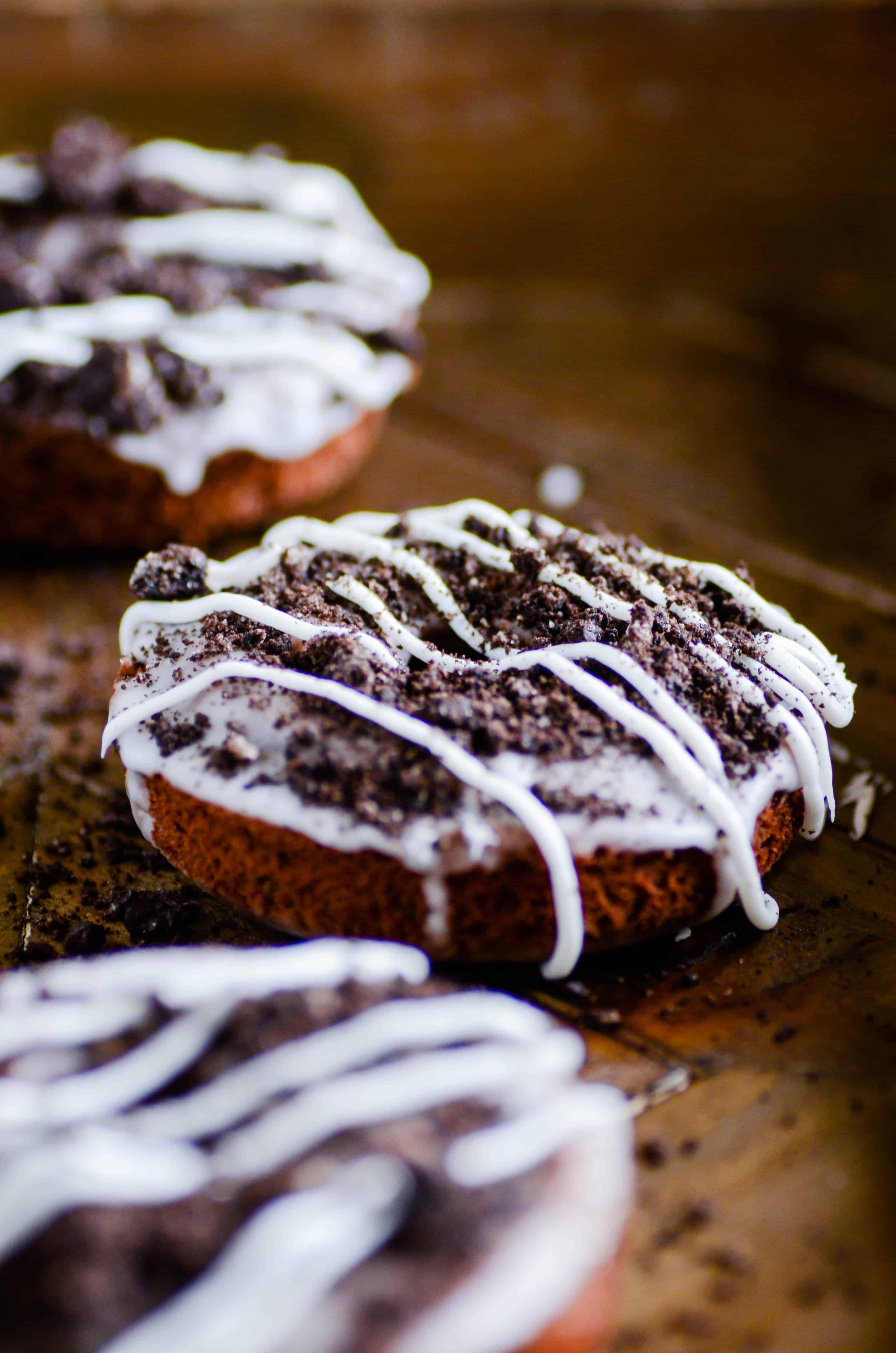 Cookies & Cream Baked Chocolate Donuts