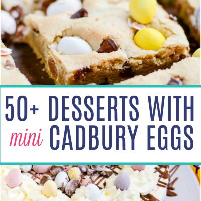 50+ Mini Cadbury Egg dessert recipes including a Cadbury Egg Skillet Brownie, Cadbury Egg Popcorn Bars, and Baked Cadbury Egg Donuts!